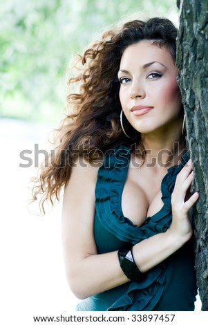 stock photo : Portrait of beautiful sexy girl with curly hair