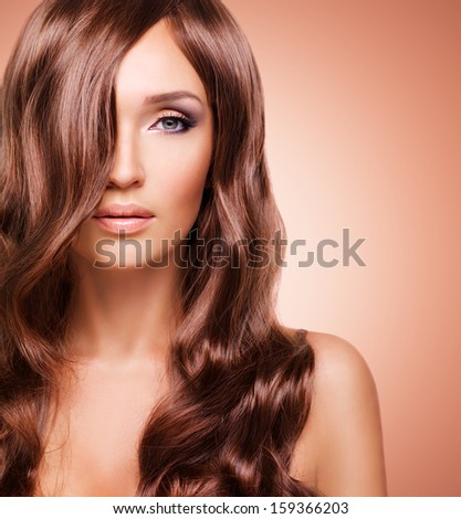 Portrait  of beautiful sexy woman with long red hairs. Closeup face  with curly hairstyle - studio #159366203