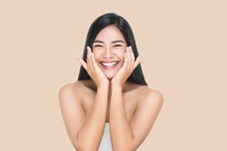 Portrait of Beautiful Skin care woman enjoy and happy,touching her face,isolated with clipping path.
