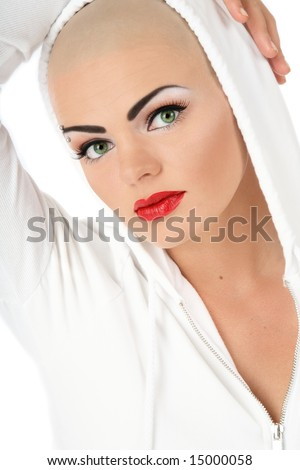 stock photo : Portrait of beautiful skinhead girl with glamorous makeup