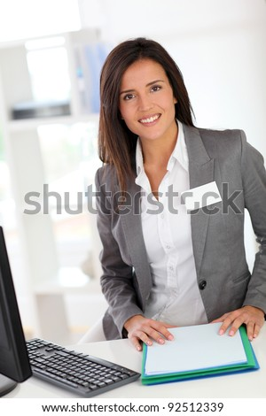 Portrait of beautiful smiling hostess