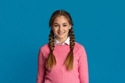 Portrait of beautiful smiling teenage girl with pigtails