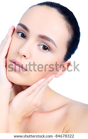 Portrait of beautiful spa girl. Isolated over white background.