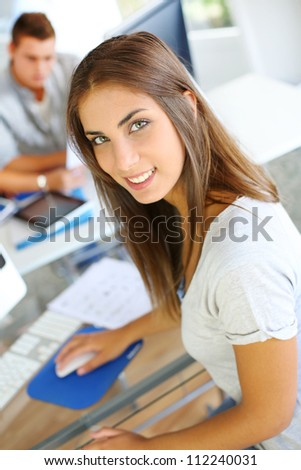 Portrait of beautiful student attending training class