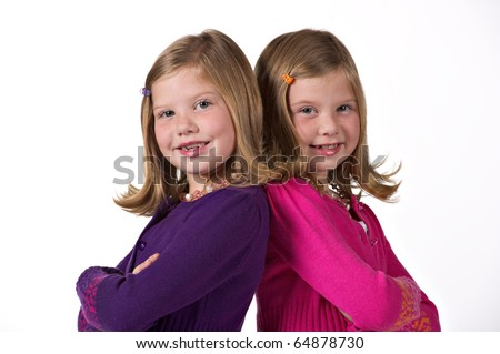 Portrait of beautiful twin girls - stock photo
