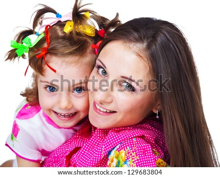 Portrait of beautiful woman and her daughter