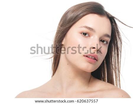 Portrait of beautiful woman beauty female model on white background. Studio shot. isolated on white.