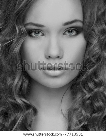 Portrait of beautiful woman. Black and white photo