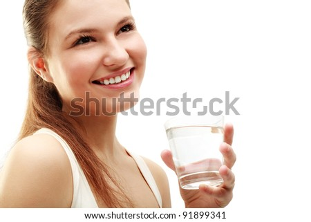 Portrait of beautiful  woman drinking water isolated on white