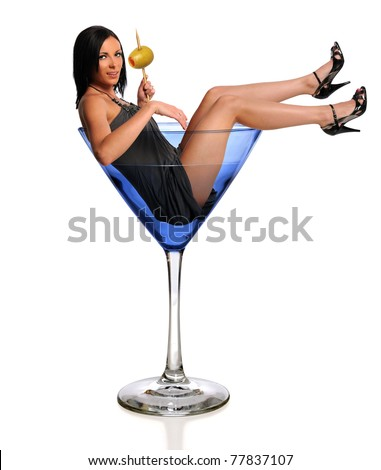 Portrait of beautiful woman in martini glass isolated over white background