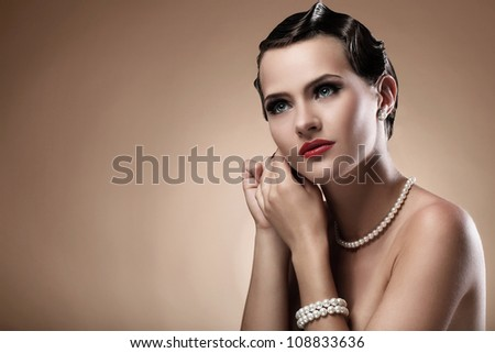 Portrait of beautiful woman in vintage image
