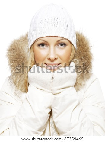 Portrait of beautiful woman in warm clothing