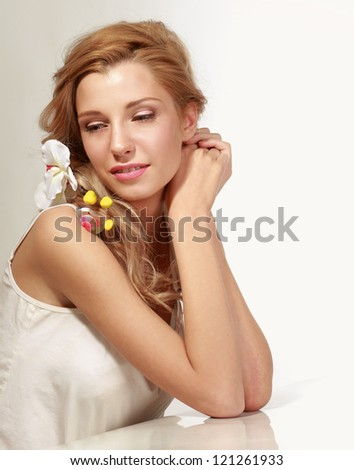 Portrait of beautiful woman, isolated on white background