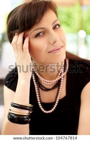 Portrait of beautiful woman. Outdoor