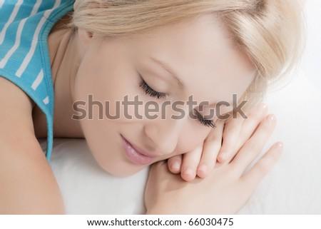 Portrait of beautiful woman sleeping. - stock photo