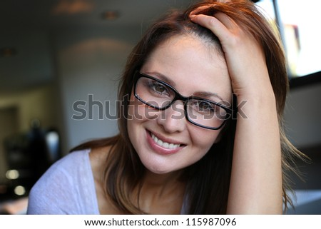 Portrait of beautiful woman with charming look