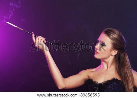 Portrait of Beautiful woman with cigarette