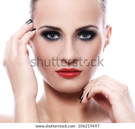 Portrait of beautiful woman with evening makeup