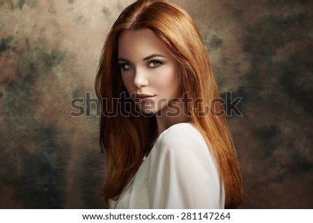 Portrait of beautiful woman with fresh makeup and romantic  hairstyle. Fashion
