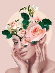 Portrait of beautiful woman with modern floral design, inspiration artwork. Beauty, fashion and ad concept. Fashionable and contemporary look, tiny and tender flowers. Spring, blooming beauty.