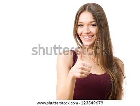 Portrait of beautiful woman with thumbs up sign
