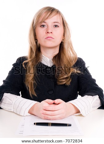 Portrait of beautiful women with pen #7072834
