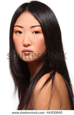 Portrait of beautiful young asian girl on white background