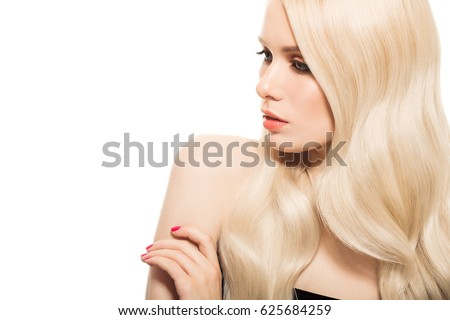 Portrait Of Beautiful Young Blond Woman With Long Wavy Hair. Isolated. #625684259