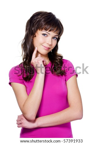Portrait of beautiful young bright woman expressive of thoughtful - isolated on white