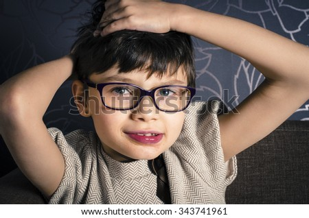 Portrait of beautiful young child with Rett syndrome Stock fotó ©