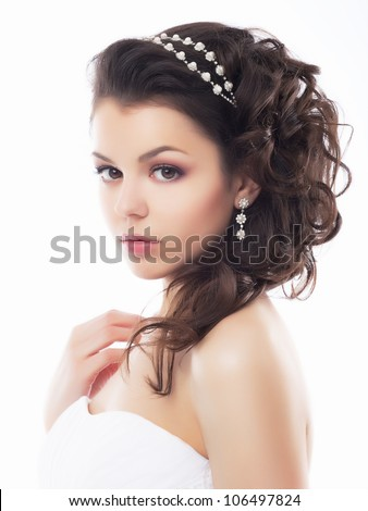 Portrait of Beautiful Young Fashion Sexy Bride Isolated on White Background. Jewelry and Luxury - Wedding Style