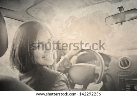 Portrait of beautiful young latin hispanic woman in the new car - indoor Old grunge vintage filter  Space for inscription
