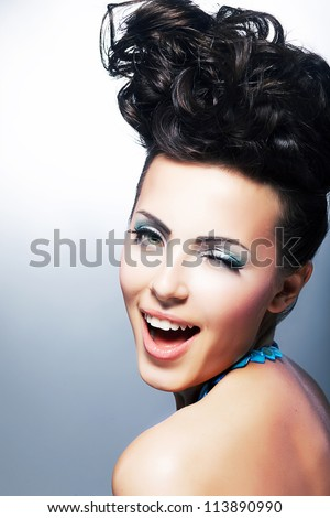 Portrait of Beautiful Young Laughing Shopper Woman - Toothy Smile. Beauty, Fashion