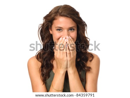 Portrait of beautiful young laughing woman