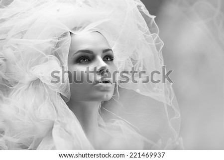 portrait of beautiful young model in white  #221469937