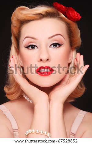 stock photo portrait of beautiful young sexy woman with vintage make up and hairstyle 67528852 monica breeze, facial, cumshot, reality porn, piercing, brunette, porn, sex, ...