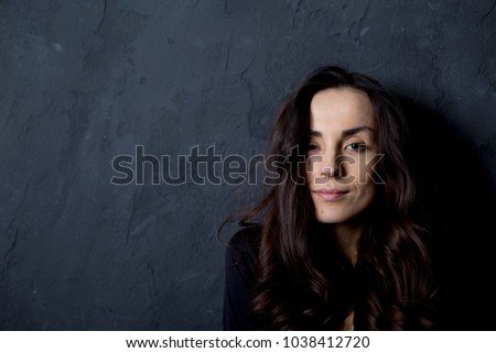 Portrait of beautiful young smiling tender woman. People concept. #1038412720