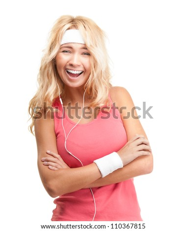 Portrait of beautiful young sporty woman isolated on white background. Happy girl relaxing and listening to music in headphones. Healthy lifestyle and healthcare concept. Relaxation and rest. - stock photo