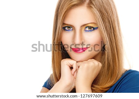 Portrait of beautiful young woman close up with amazing makeup, isolated on white background.