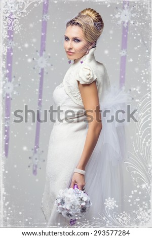 Portrait of beautiful young woman in long warm gown for winter wedding with purple flower bouquet. Over snowy background