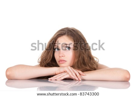 portrait of beautiful young woman think looking up, isolated over white background, studio shoot