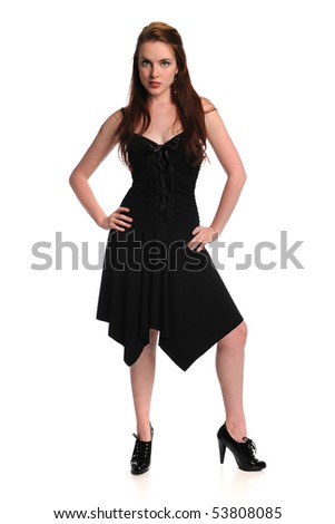 Portrait of beautiful young woman with black dress over white background
