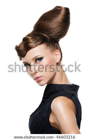 portrait of beautiful young woman with creative fashion hairstyle