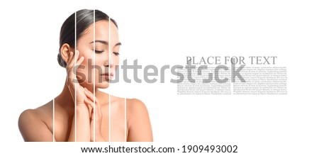 Portrait of beautiful young woman with different tones of skin on white background with space for text Foto stock ©