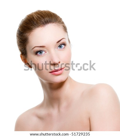 Portrait of beautiful young woman with healthy skin