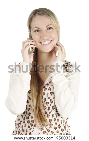 Portrait of beautiful young woman with long straight hair posing on white background with mobile