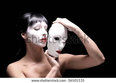 portrait of Beautiful young woman with mask