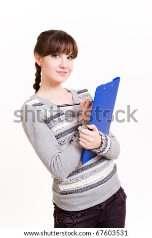 Portrait of beautiful young woman with tablet and pen