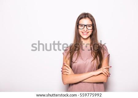 Portrait of beauty girl in eyeglasses on white background