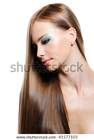 Portrait of beauty long hair of young blonde woman